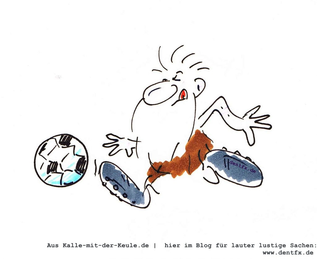 Fußballer Karikatur, lustige Motiv Steinzeitfußballer